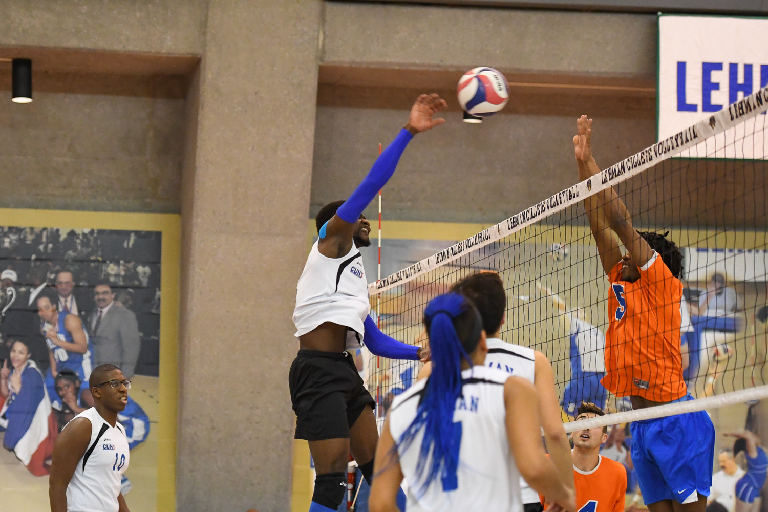 Lehman junior Yaw Eshun, shown here in a match earlier this season, logged 14 digs in a close loss to Baruch.