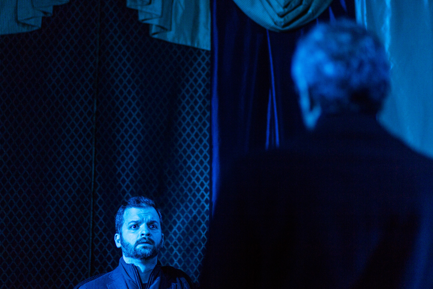 Red Monkey Theater Group artistic director Tal Aviezer rehearses the scene in Shakespeare's 'Hamlet' when the titular prince confronts the ghost of his slain father, portrayed by Gregg Shults, for the first time.