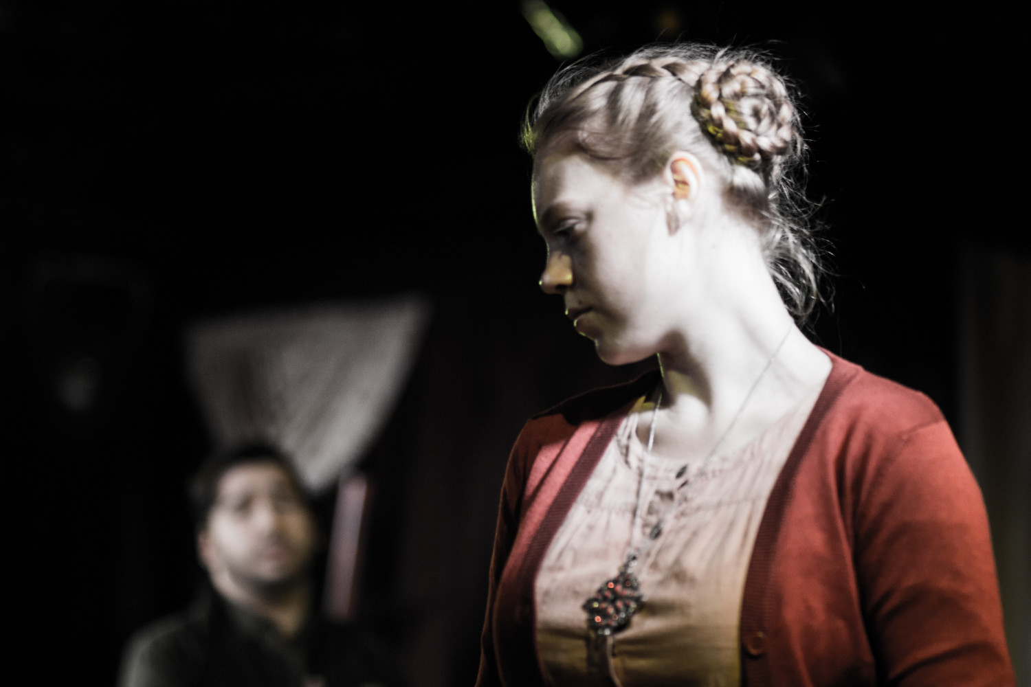 Kate Berg rehearses Ophelia for the Red Monkey Theater Group's 100-minute production of William Shakespeare's 'Hamlet.'