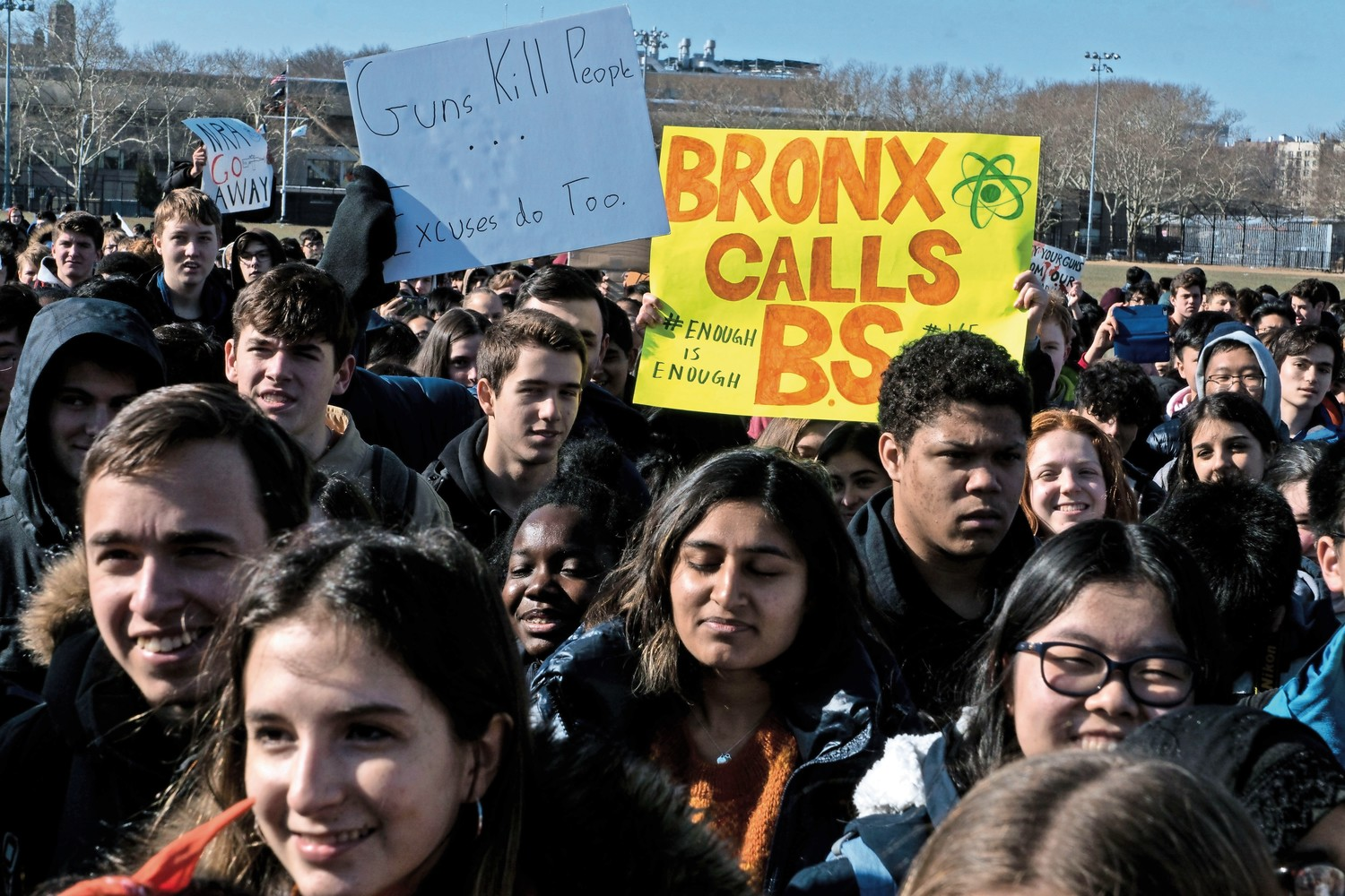 Students from Bronx Science and American Studies rally at Harris Field to protest gun violence following the mass shooting at Marjory Stoneman Douglas High School in February.