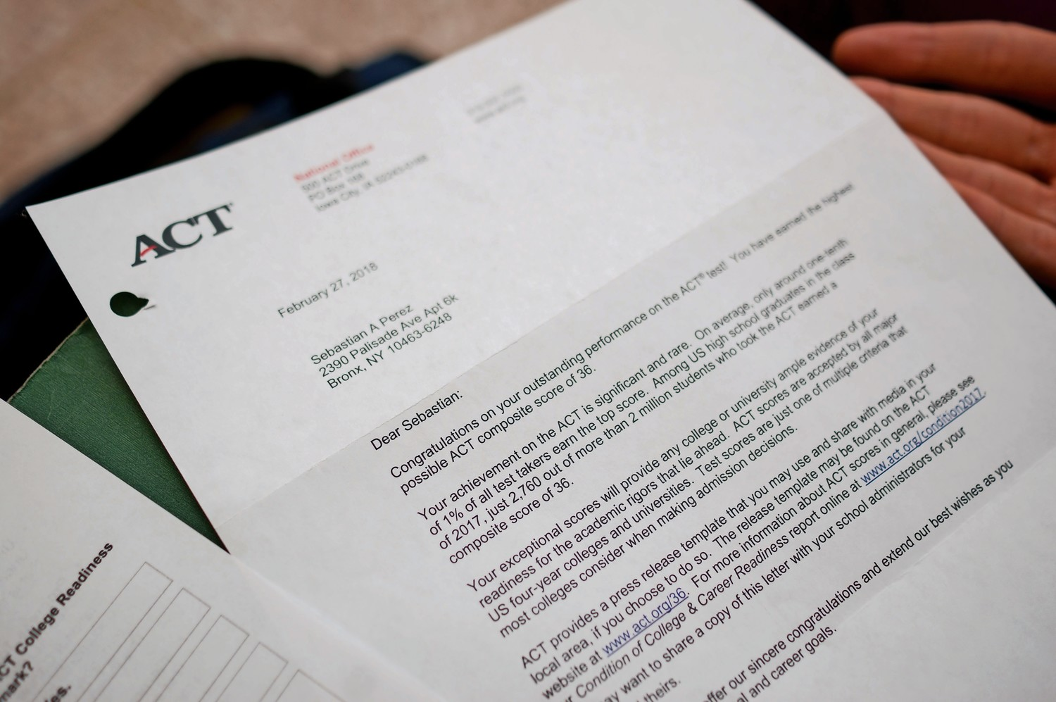 Sebastian Perez received a letter from the ACT's national office congratulating him on his perfect score.
