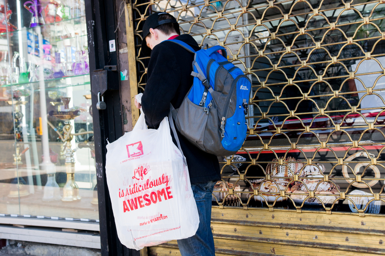 A pedestrian on West 231st Street near Broadway carries a plastic bag from Kmart that reads, 'Life is ridiculously awesome.' Yet hundreds of organizations across the state find plastic bags to be just the opposite, a blight on the environment and a costly source of waste.