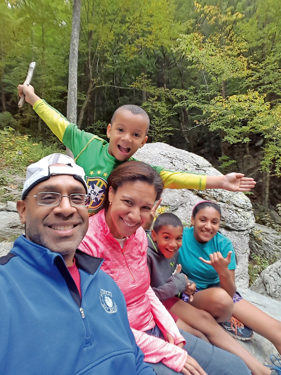 Nigel Furlonge goes on a hike with his family. Furlonge will start as the new principal of Fieldston Upper School in the fall.
