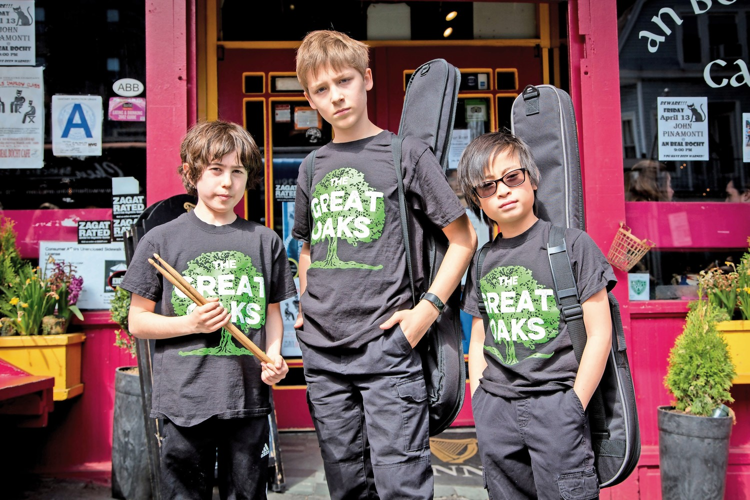 The Great Oaks is a band consisting of 10-year-old Oscar Smith on drums, 11-year-old Kian Hecht on guitar, center, and 10-year-old Alex Arbucci on bass. They all sing. The word 'Oaks' derives the bandmates? first initials.
