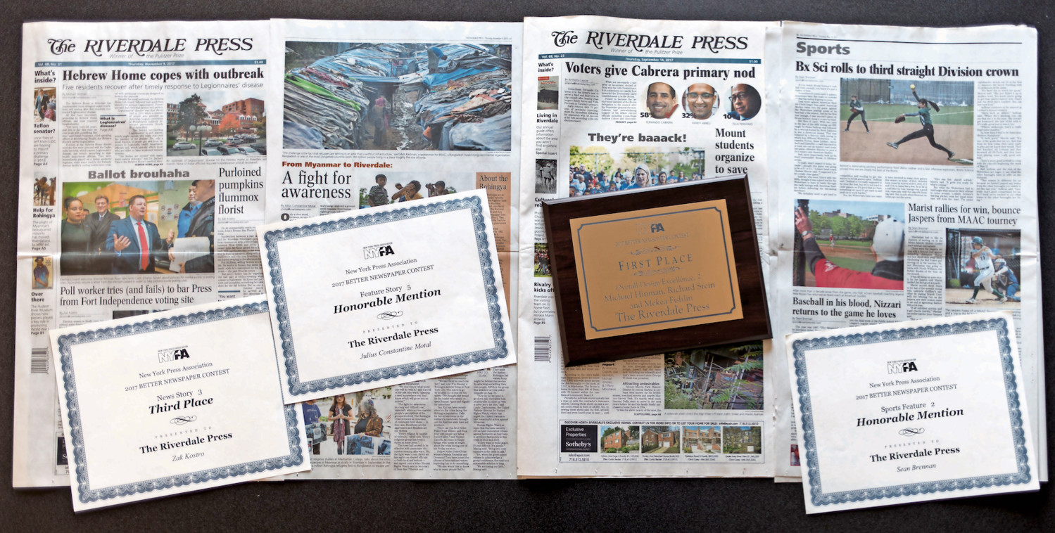 The Riverdale Press took home four awards from last weekend's New York Press Association conference in Albany, including a first place prize for overall design excellence.