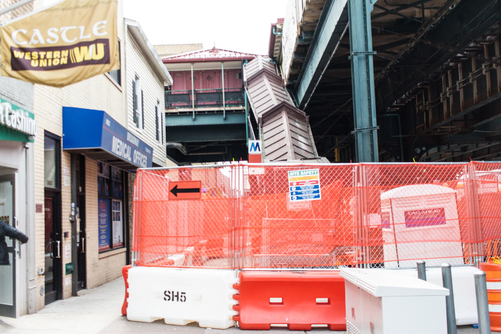 Barricades surround the northeastern staircase of the West 238th Street station for the 1 train. Located off Broadway, the staircase is expected to be off-limits for three months as SH5 Construction Corp., a Brooklyn-based contractor, replaces the steps, guardrails, handrails and canopies.