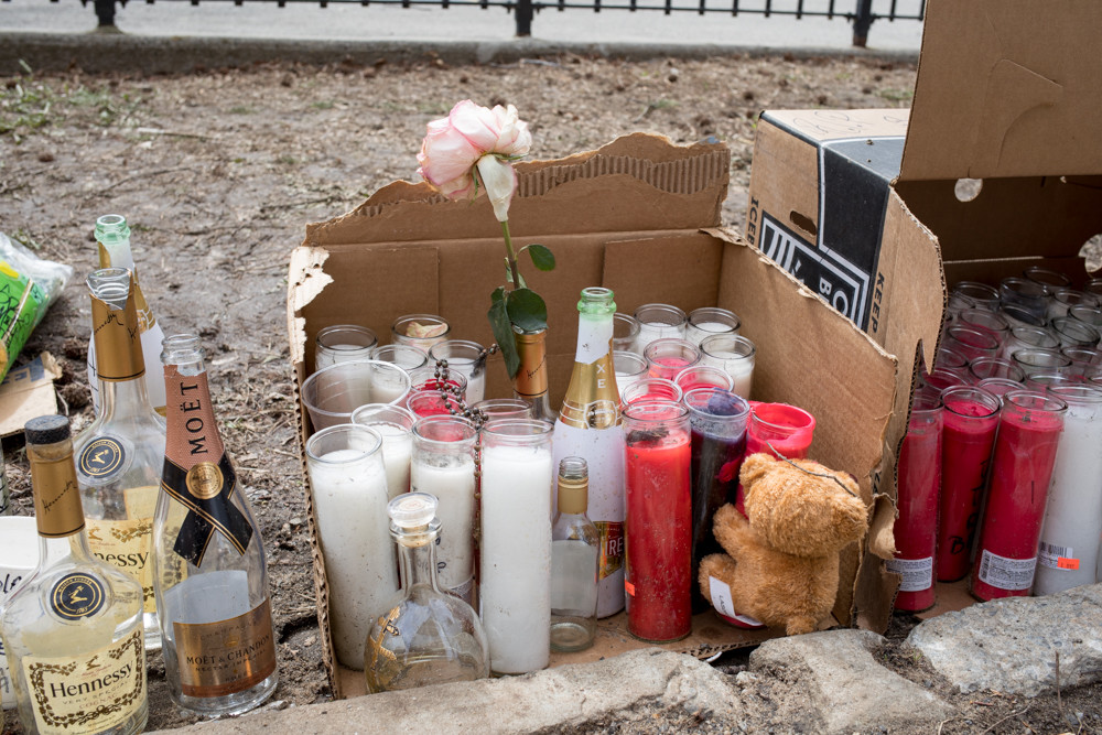 Marble Hill Houses residents built a memorial for Keith Bailey, who died Sunday from a gunshot wound to the head he suffered two days earlier at 5240 Broadway.