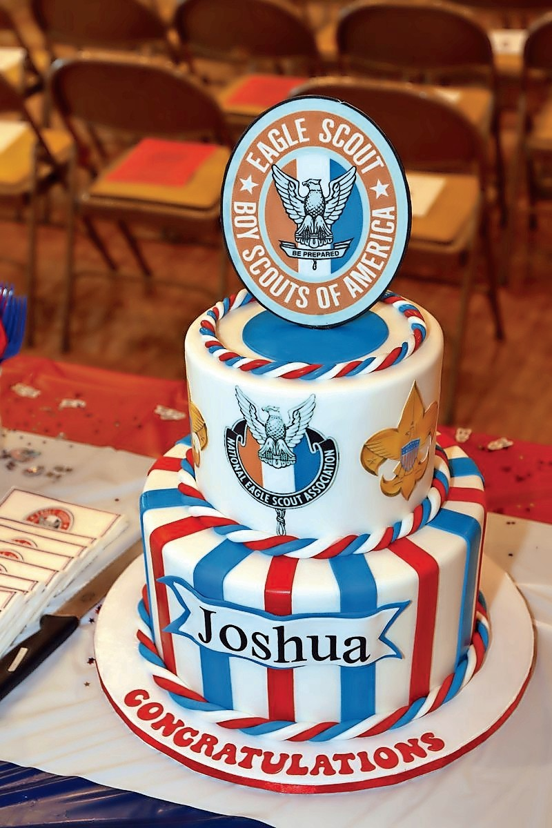 Joshua Dorfman celebrated his new status as an eagle scout with a delicious cake commemorating the occasion.