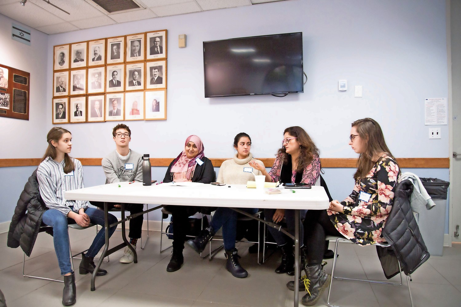 Mehnaz Afridi, a professor of religious studies at Manhattan College, speaks at an interfaith event for Jewish and Muslim youth at the Riverdale Y.