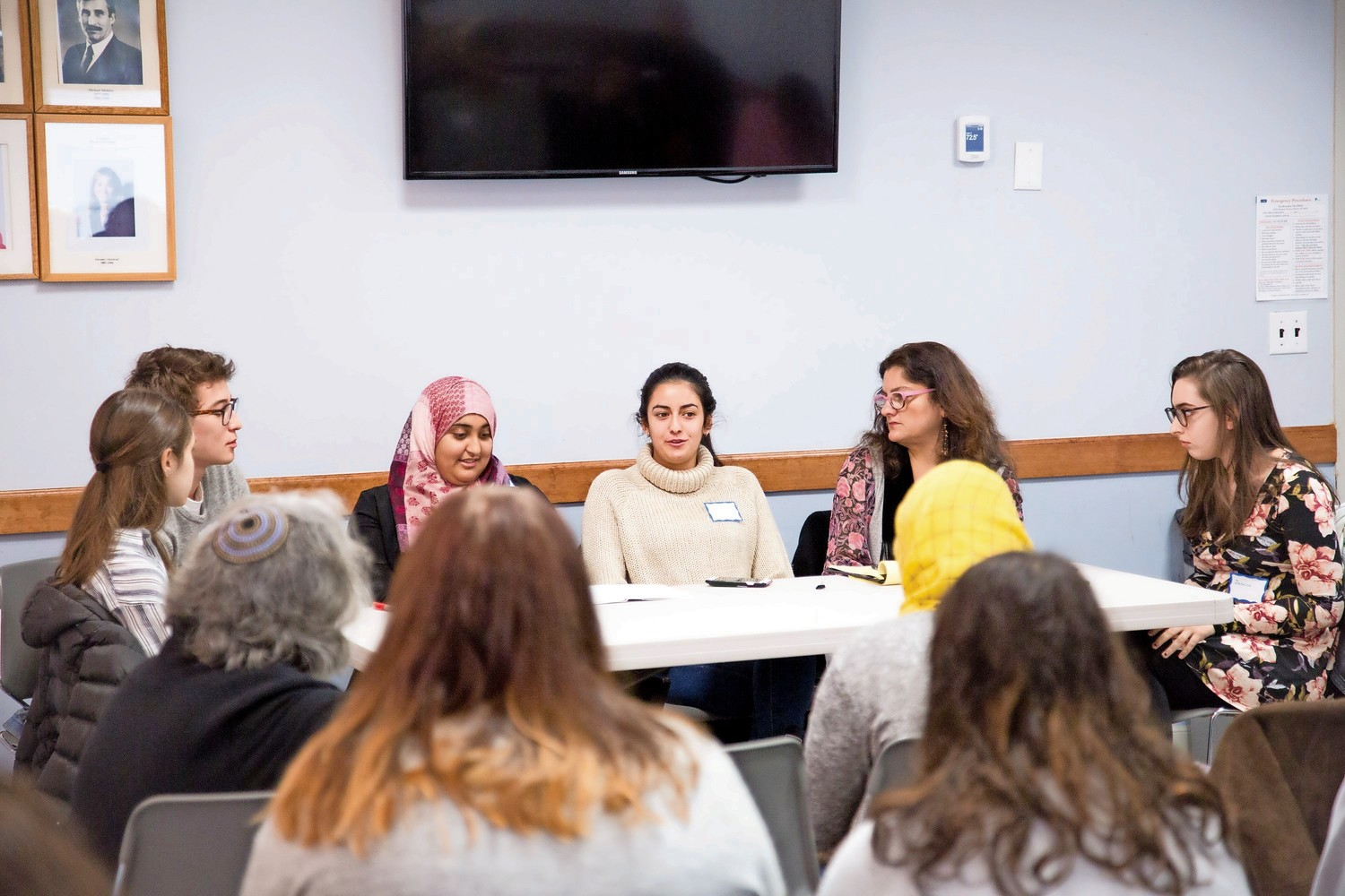 Nadia Itani, a Muslim student at Manhattan College, speaks at an interfaith event for Jewish and Muslim youth at the Riverdale Y.
