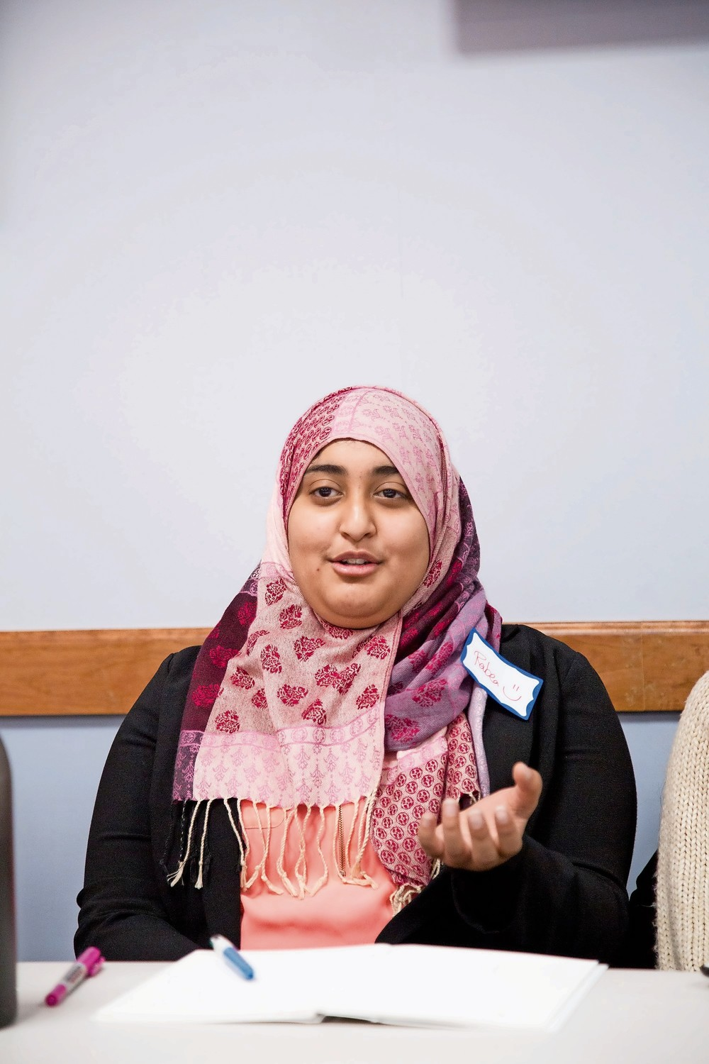 Rabea Ali, a Muslim student at Manhattan College, third from left, speaks about her experiences as a Muslim Pakistani-American woman as part of an interfaith event for Jewish and Muslim Youth at the Riverdale Y.