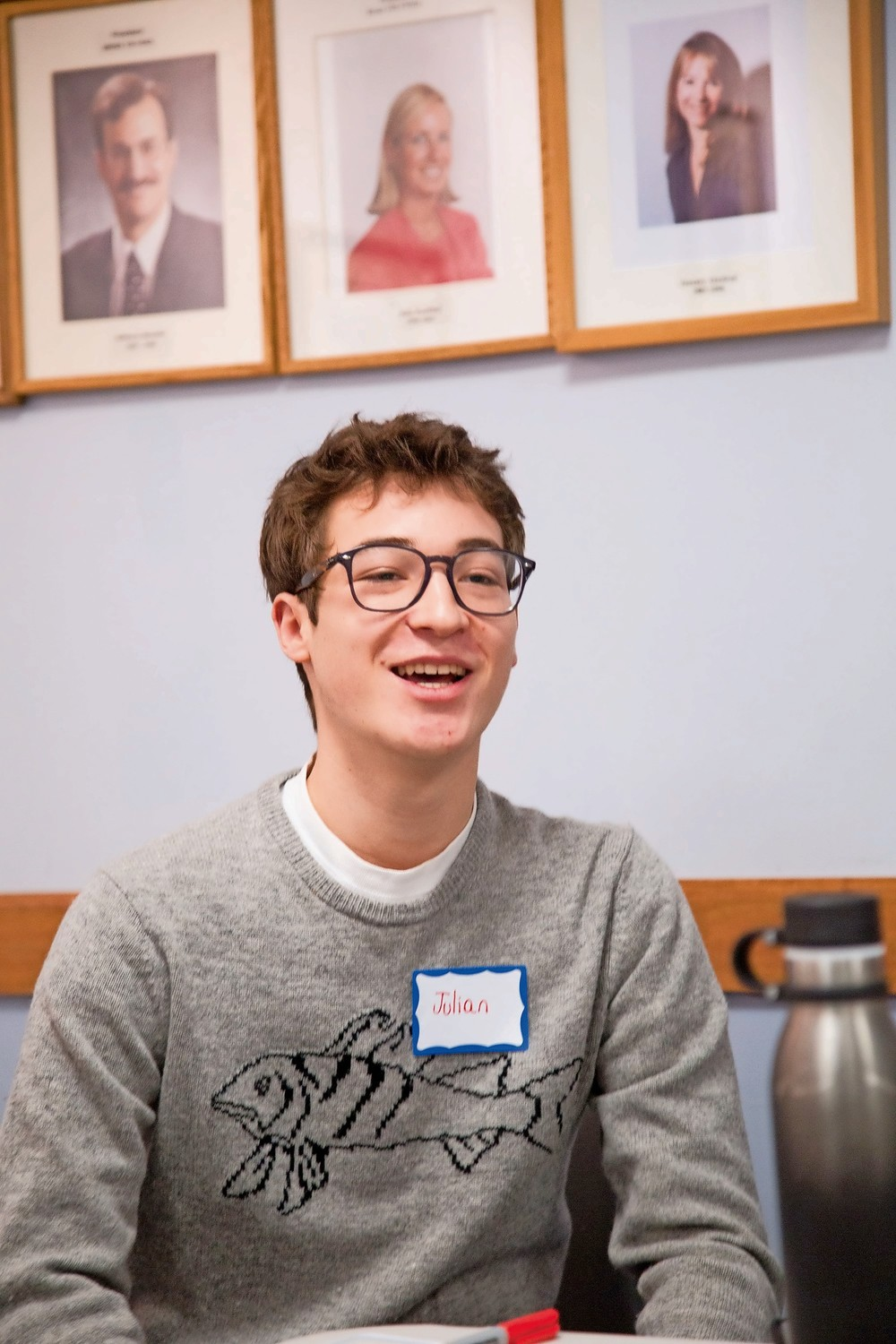 Julian Reich, a Jewish student at the High School of American Studies, speaks at an interfaith event for Jewish and Muslim youth at the Riverdale Y.