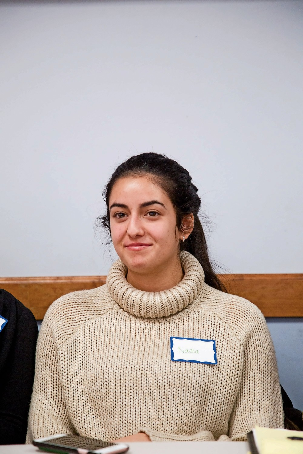Nadia Itani, a Muslim student at Manhattan College, speaks about her experiences at an interfaith event for Jewish and Muslim youth at the Riverdale Y.