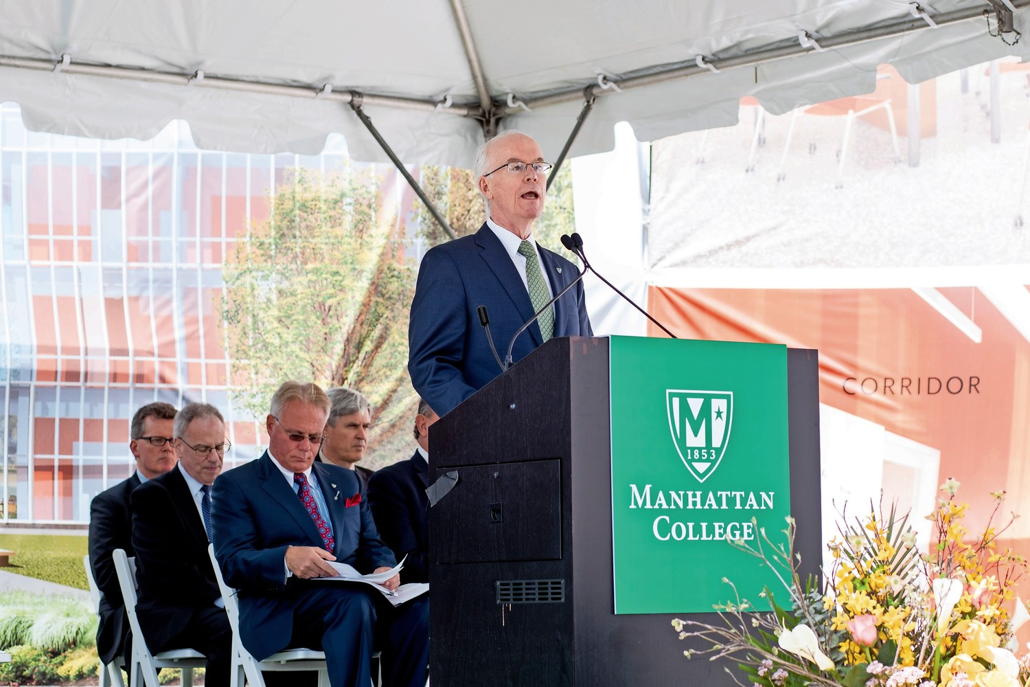 Manhattan College president Brennan O'Donnell speaks at the groundbreaking ceremony for the Patricia and Cornelius J. Higgins '62 Engineering and Science Center. The new center is expected to be completed in 2020.
