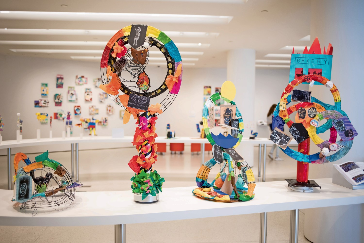 Sixth-grade students at P.S. 86 explored the nature of how one character or event in a story can affect everything that comes after in a series of sculptures called 'Hanging in the Balance.' These sculptures are part of the group exhibition 'A Year with Children 2018,' which is on display at the Guggenheim Museum until June 13.