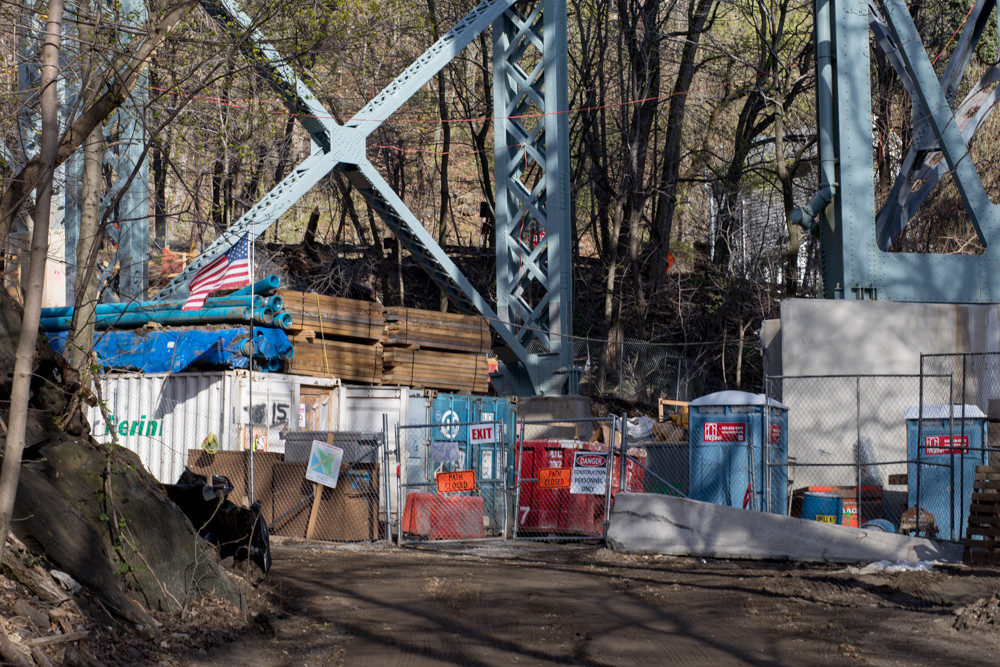 A section of a trail in Spuyten Duyvil Shorefront Park under the Henry Hudson Bridge will be closed for work until 2020, according to signs posted in the area, blocking pedestrians from crossing the park. It may not be the most heavily used path in the city, but residents like Steve Adragna use it regularly to walk their dogs.
