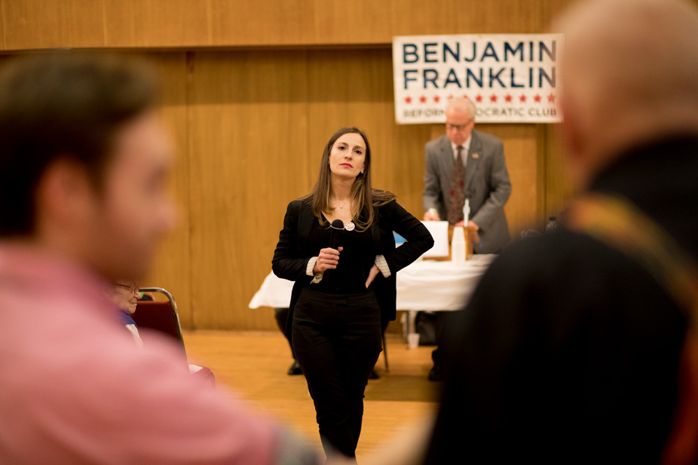 Alessandra Biaggi takes a question at an endorsement meeting held by the Benjamin Franklin Reform Democratic Club at the Riverdale Temple last week, which featured candidates in races for several state senate districts, as well as for governor and lieutenant governor. Biaggi has mounted a spirited challenge for Jeffrey Klein's state senate seat.