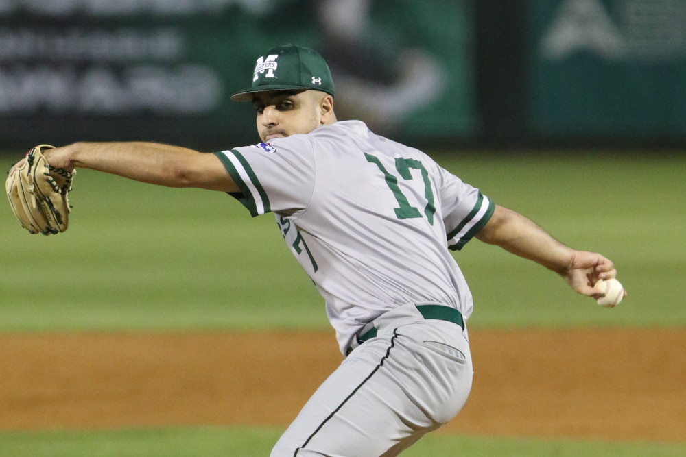 Right-hander Matt Simonetti has been a workhorse for Manhattan's pitching staff this season.