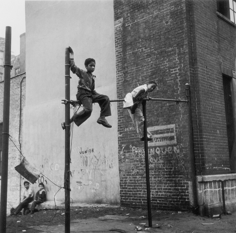 Vivian Cherry's images of children playing throughout New York City are often gritty in their aesthetic, reflecting the environment in which she was photographing.