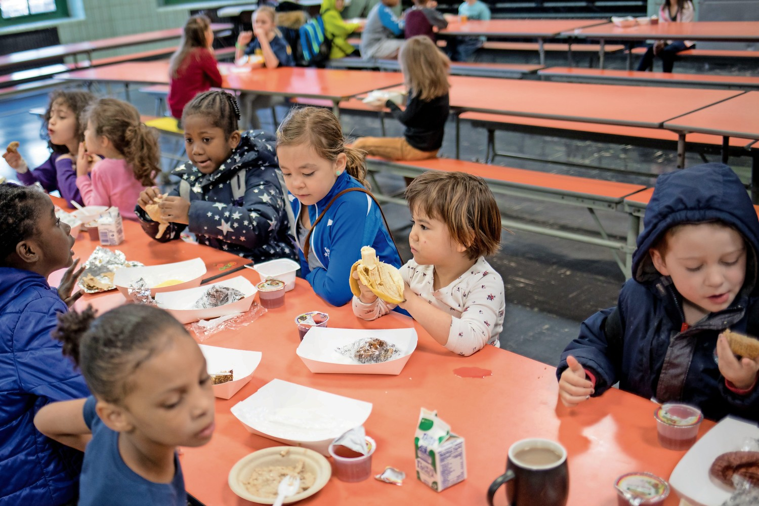 P.S. 24 students eat breakfast before class. Gov. Andrew Cuomo has proposed the No Student Goes Hungry initiative to incorporate breakfast into the regular school day, so that more kids get the chance to eat breakfast.
