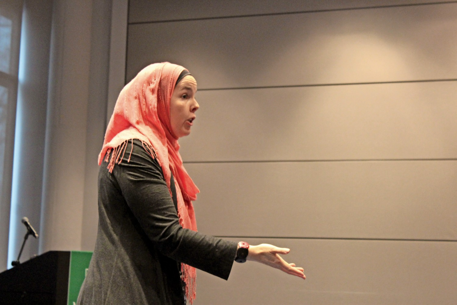 Jerusha Lamptey, a professor of Islam at Union Theological Seminary, talks about the the effects media coverage has on the perception of Muslims in America at the 'Women in Islam' event at Manhattan College.