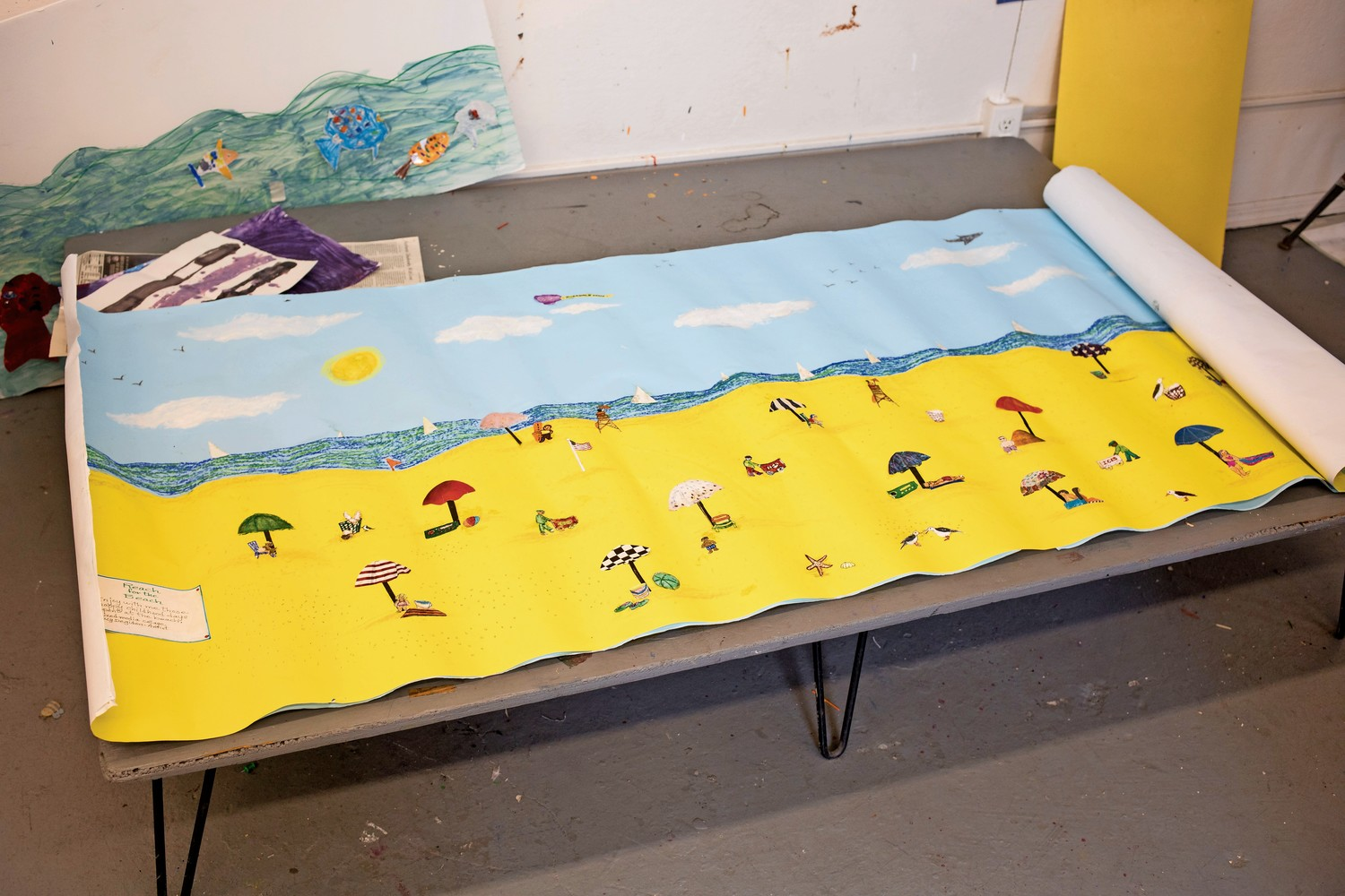 'Reach for the Beach' is a mural Lucy Degidon worked on with students at Amalgamated Nursery School that was informed by her childhood.