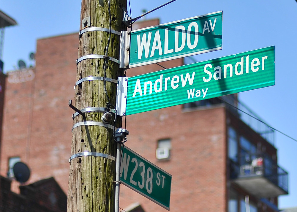 Elected officials and residents came together to honor Andrew Sandler's memory by ceremonially co-naming Waldo Avenue 'Andrew Sandler Way.' Sandler was the former of district manager of Community Board 7, but also was an active public servant throughout this part of the Bronx before dying of cancer last year.
