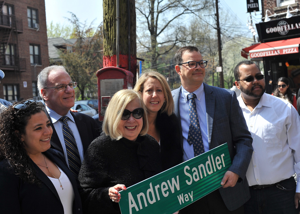 Elected officials, including Councilman Andrew Cohen and Assemblyman Jeffrey Dinowitz, gather with others for a co-naming ceremony to honor Andrew Sandler, the former Community Board 7 district manager who died last year.