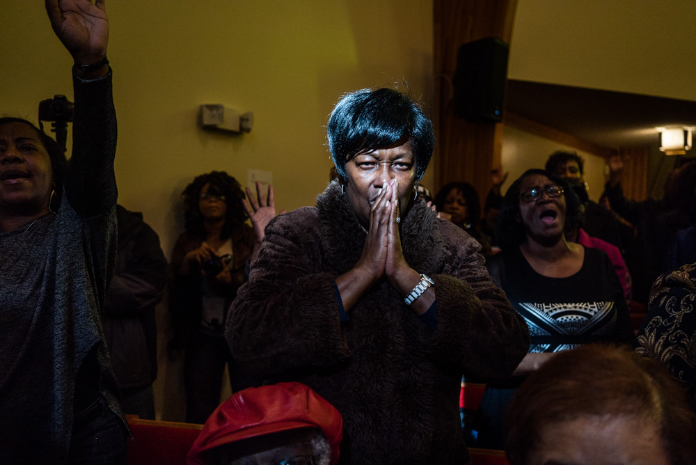 Locals participate in an environmental rally and a sermon at the First Trinity Missionary Baptist Church with Flint, Michigan mayor Karen Weaver, Russell Simmons and a number of national pastors in February 2016. Zackary Canepari's multimedia exhibition 'Flint is a Place' is on view at the Bronx Documentary Center until May 27.