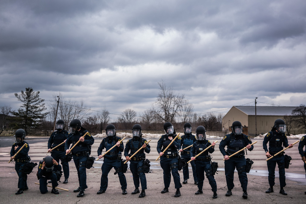 Police cadets train for civil unrest at the Mott Police Academy in February 2016. Zackary Canepari's multimedia exhibition 'Flint is a Place' is on view at the Bronx Documentary Center until May 27.