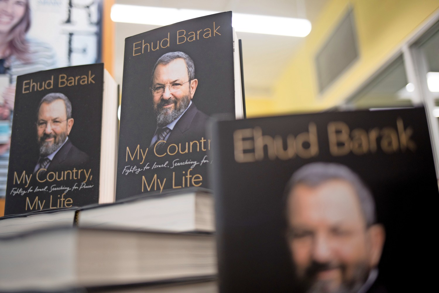 Copies of Ehud Barak's book, 'My Country, My Life: Fighting for Israel, Searching for Peace,' were available in the library at SAR High School's library after his talk.