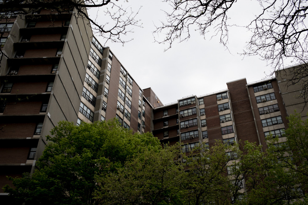 Fort Independence Houses on Bailey Avenue is listed as a potential site for AcCESSolar, a new program aimed at providing lower cost clean energy to low- and moderate-income residents. But those who live in Fort Independence Houses, such as residents association president Barbara Lauray, say they have more pressing concerns, like flooding, mold, lead paint, and windows that don't close properly.