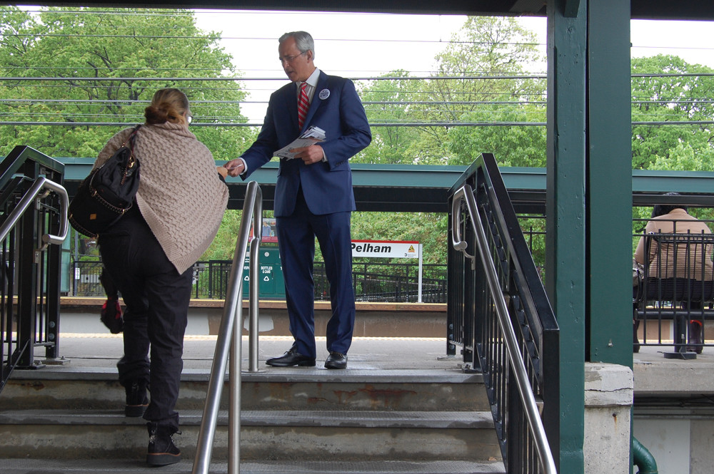 Jonathan Lewis campaigns at the Metro-North station in Pelham as he challenges U.S. Rep. Eliot Engel for his seat in New York's 16th congressional district. Lewis claims Engel's voice has been silenced by political action committees that have helped finance his campaign.