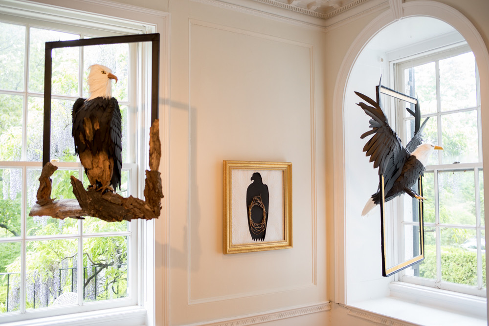 Marna Chester used materials found at Wave Hill to create sculptures of birds in different poses as part of a new exhibition 'Avifauna: Birds + Habitat,' on view until June 24.