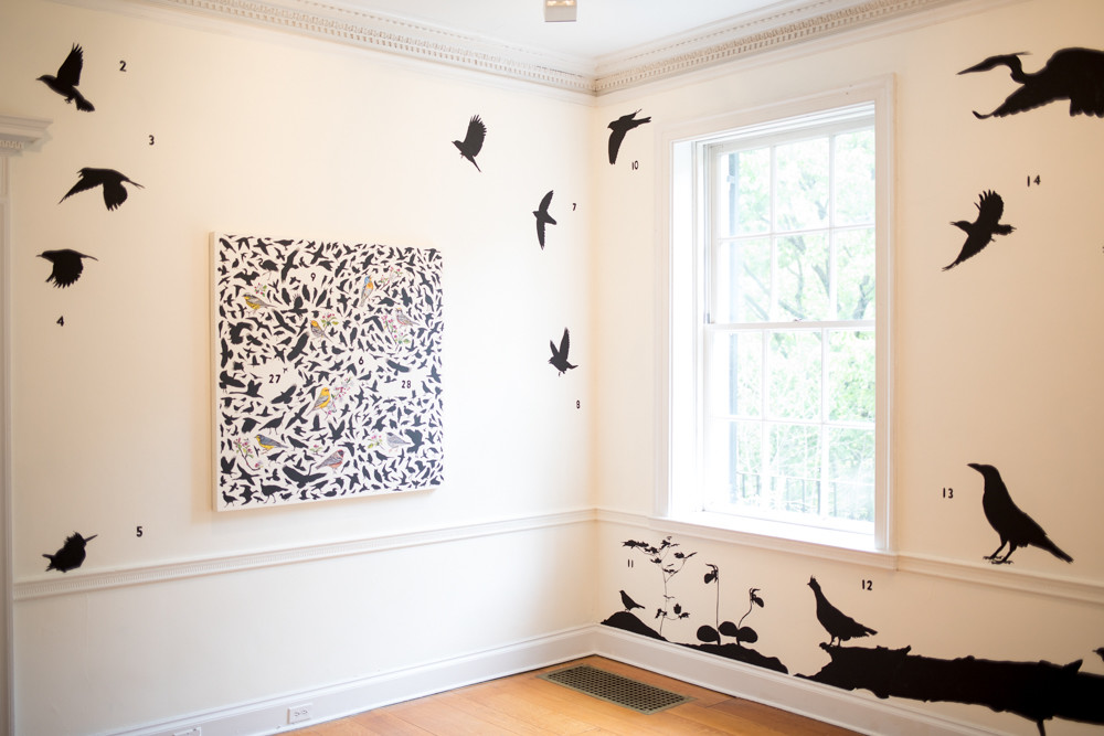 James Prosek created the installation 'Spring at Wave Hill' specifically for the gallery's new exhibition. He gave each bird a number, but heightened the mystery by not providing a key.