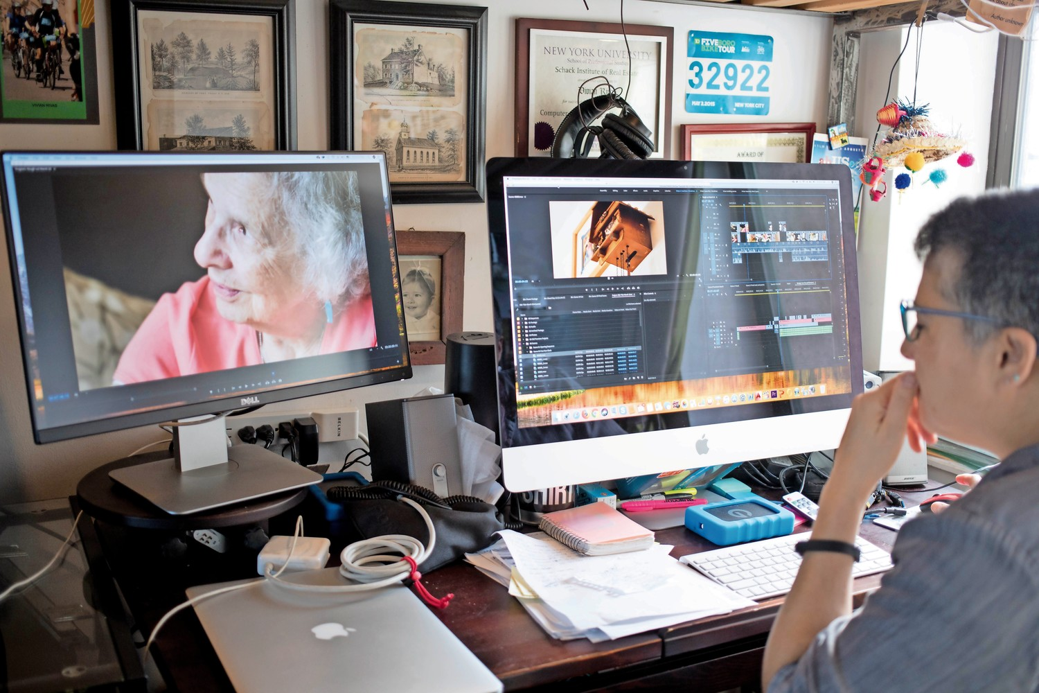 Vivian Rivas uses Adobe Premiere and two monitors for her editing workflow. Rivas is close to finishing her master's degree in film with a concentration in documentary filmmaking. Rivas is workign on a short documentary about Zee Pacifici, a retired teacher living in Riverdale.