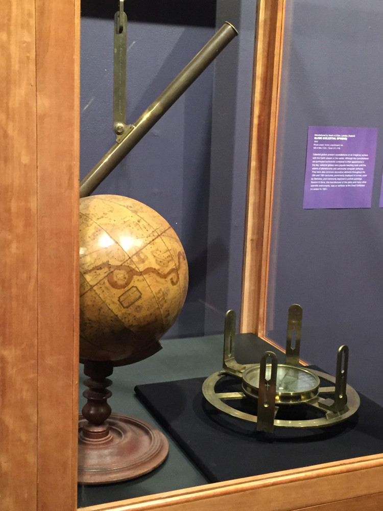 The Hudson River Museum's 'Wondrous Devices' exhibition displays a celestial sphere globe commonly used as decorative items in homes, and a device called 'astronomical balance' that's used to synchronize clocks.
