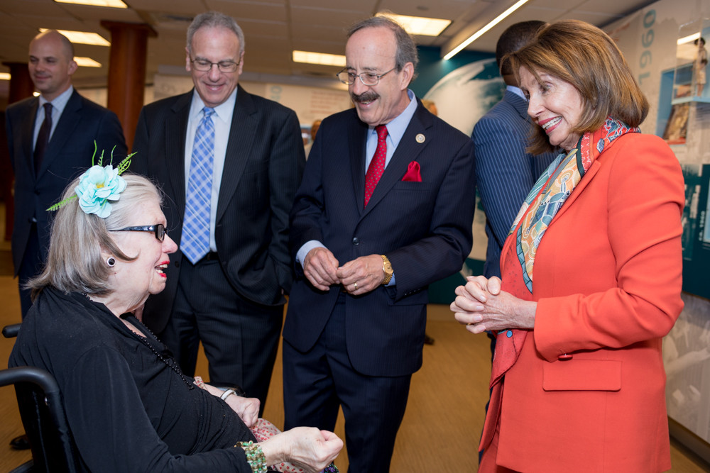 Former House Speaker Nancy Pelosi, right, joins U.S. Rep. Eliot Engel, center, and Assemblyman Jeffrey Dinowitz to talk with Joan Jackson, a resident of the Hebrew Home at Riverdale, during a tour of the facility on Monday.