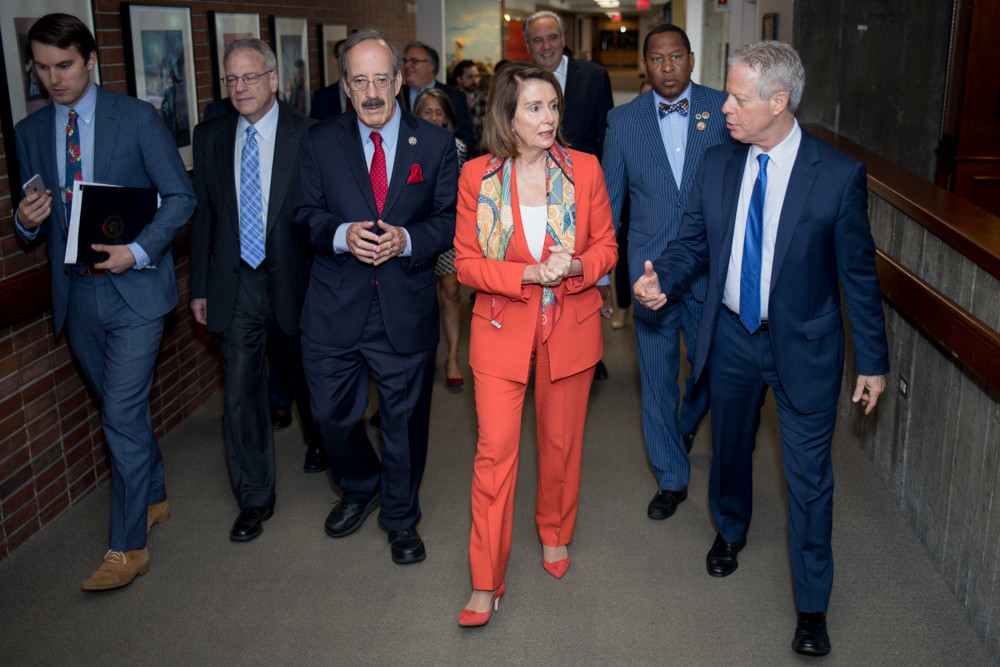 Former House Speaker Nancy Pelosi takes a tour of the Hebrew Home with chief executive Daniel Reingold, right, U.S. Rep. Eliot Engel. and both Assemblyman Jeffrey Dinowitz (second from left) and Councilman Andy King (second from right).