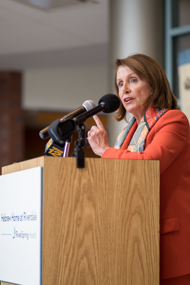 Former House Speaker Nancy Pelosi talks with residents of the Hebrew Home at Riverdale about the importance of health care and preventing legislative attacks against Medicare, Medicaid and the Affordable Care Act.