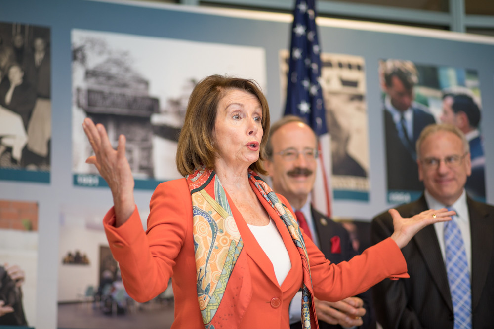 Democratic Minority Leader and former House Speaker Nancy Pelosi talks to the crowd during a press conference at the Hebrew Home at Riverdale. Pelosi made the Monday visit after hearing its praises from House colleague Eliot Engel.
