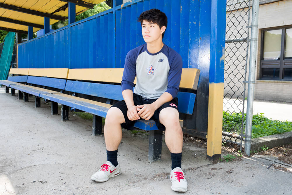 American Studies' Julian Trebach sits in the Senators' dugout one last time before calling it a career with the Senators and heading for Lafayette College in the fall.