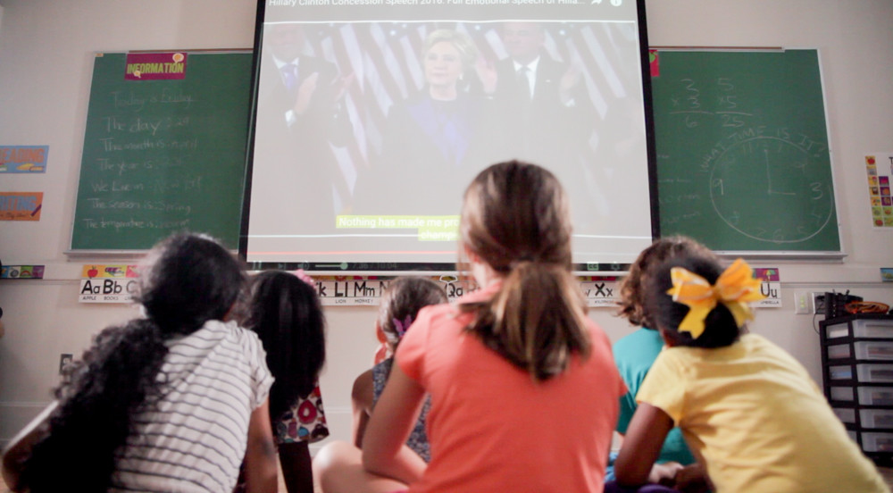 Students at P.S. 81 watch former presidential candidate Hillary Clinton's concession speech months after the 2016 presidential election. Some P.S. 81 students were featured in the film '1st Little Ladies,' directed by April Gatling-Joffee, which explores the influence the former Secretary of State had on young girls.