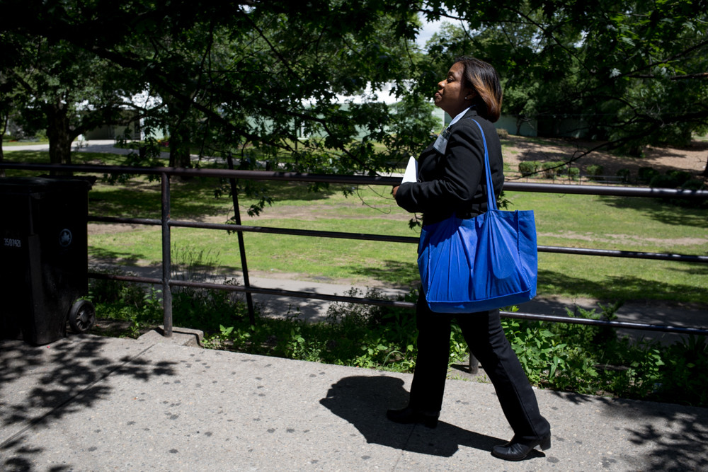 Joyce Briscoe, who's taking on longstanding incumbent U.S. Rep. Eliot Engel in next week's primary, walks along Broadway next to Van Cortlandt Park in Engel's 16th Congressional District canvassing potential voters. 'I don't feel that any of my representatives are representing me, my family, or the people in my community,' Briscoe says.