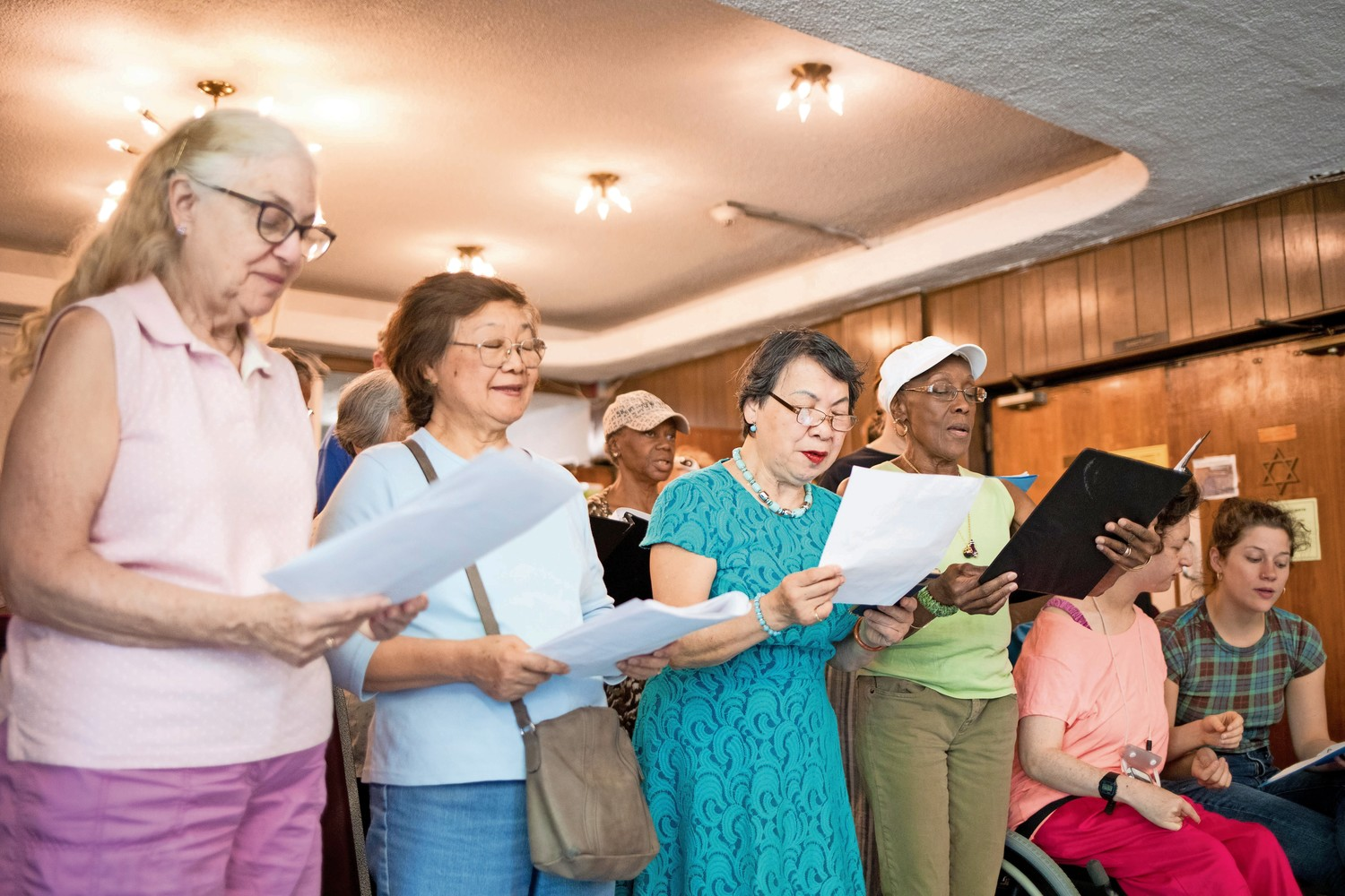 Senior citizens in Cheryl Warfield's singing class rehearse 'I Have A Dream' at the JASA Van Cortlandt Senior for an upcoming performance on Independence Day.