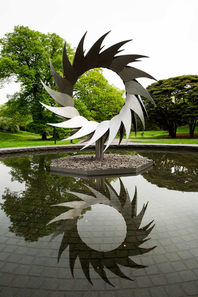 Hawaiian-Chinese sculptor Mark Chai created the outdoor installations for 'Georgia O'Keeffe: Visions of Hawai'i' that are found across the New York Botanical Garden. Chai was inspired by the plants O'Keeffe discovered on her trip to Hawaii in 1939.