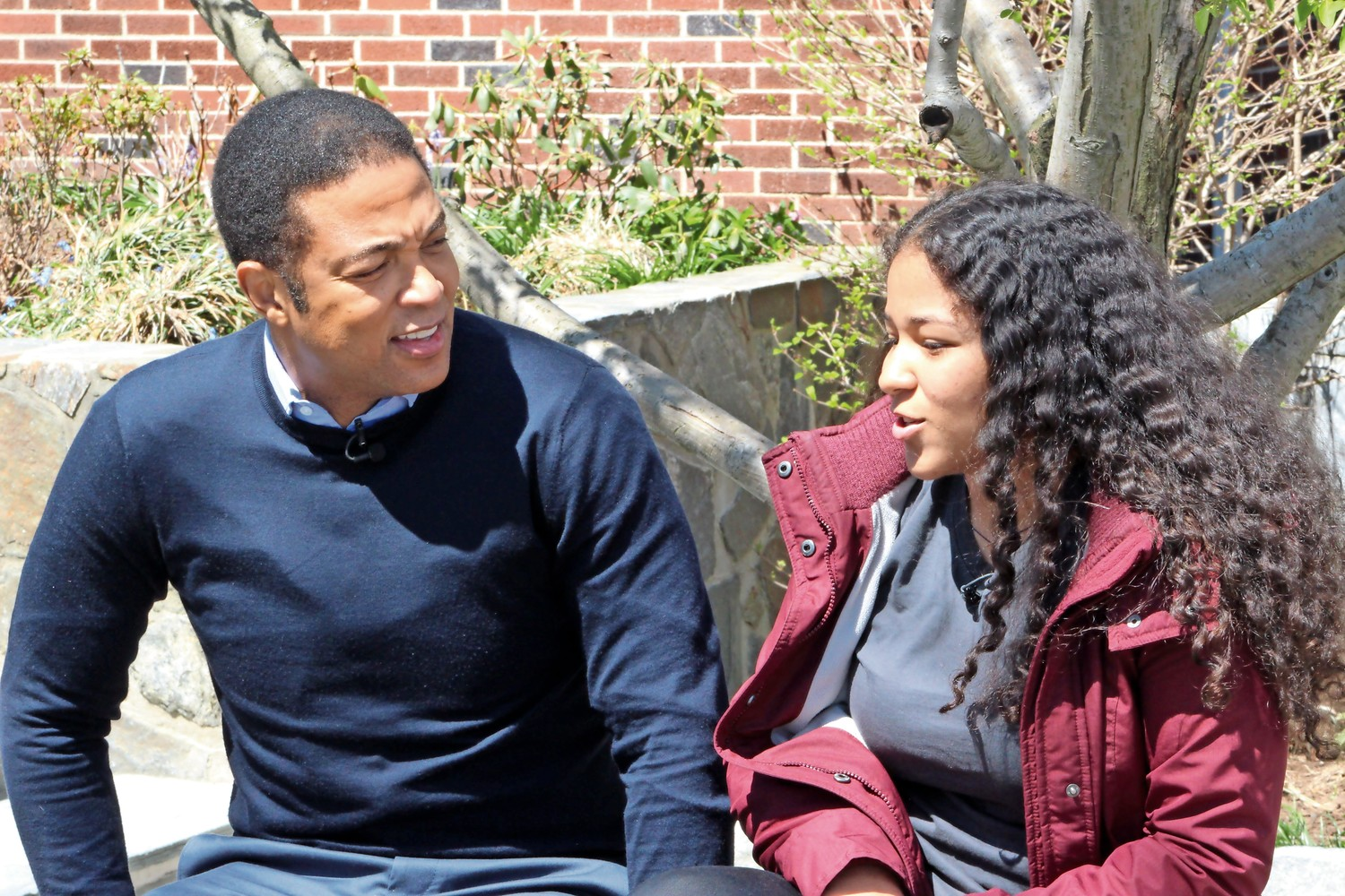 CNN anchor Don Lemon speaks with a student at Riverdale Country High School. Lemon traveled to the school to meet with students who are Oliver Scholars, which is part of a program that prepares minority students to attend elite universities.