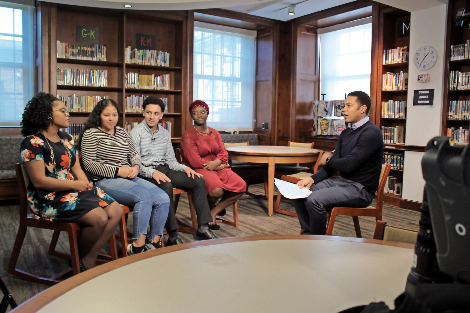 CNN anchor Don Lemon speaks with students at Riverdale Country High School about the importance of higher education. Lemon traveled to the school to meet with students who are Oliver Scholars, which is part of a program that prepares minority students to attend elite universities.