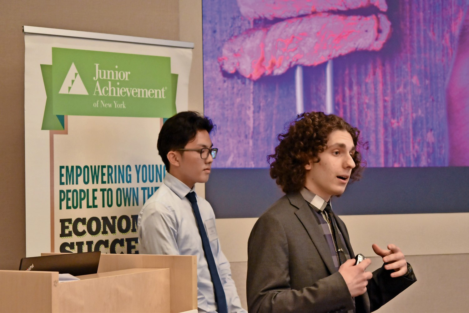 Bronx Science student Dvir Avnon-Klein presents his team's idea for a biosensor that could detect contaminants in meat. Avnon Klein and his two teammates won first place in the 11th annual Business Plan Competition.