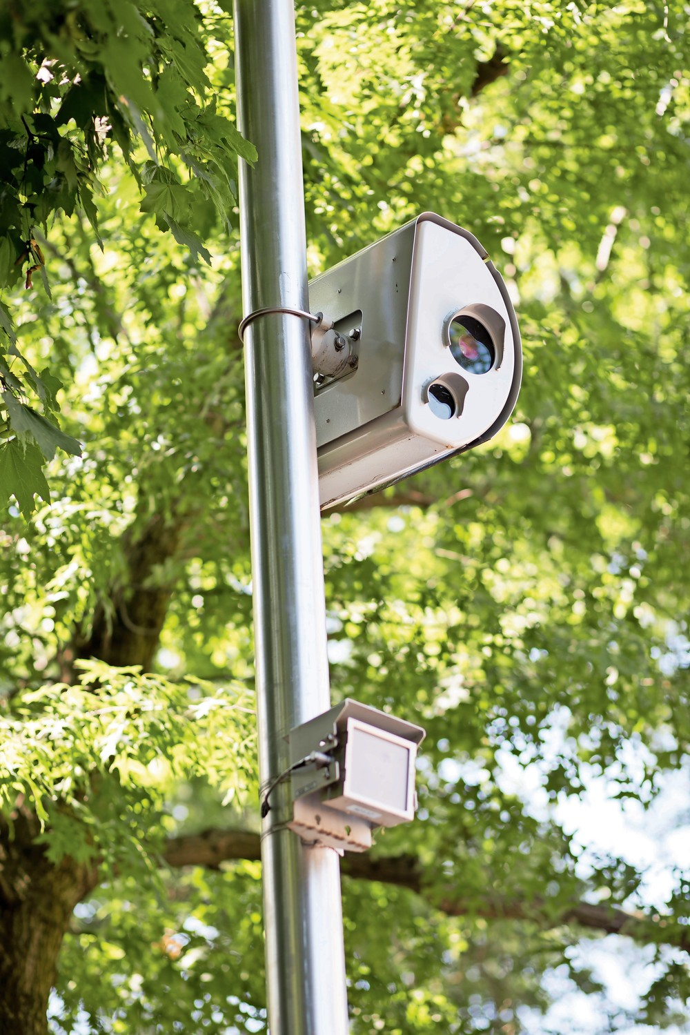 A speed camera looks out onto Riverdale Avenue between West 256th and West 259th streets near P.S. 81. The speed camera program is set to expire on July 21, which residents and local lawmakers feel is a mistake.